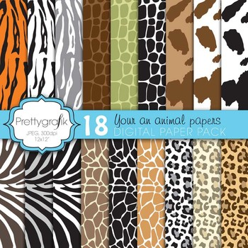 animal print digital paper, commercial use, scrapbook papers, background - PS593