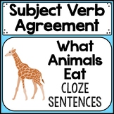 subject verb agreement cloze sentences with animals