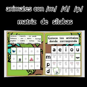 animales con fonema /d/ /m/ /p/
