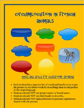 animals circumlocution FRENCH