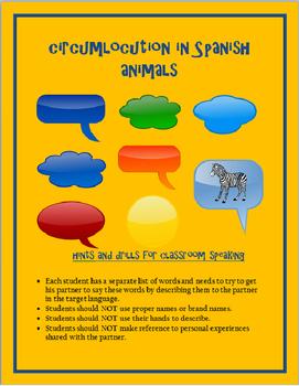 animals circumlocution SPANISH