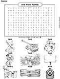 ank Word Family Word Search/ Coloring Sheet (Phonics Worksheet)