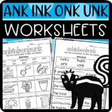 ank, ink, onk, and unk Worksheets: Cut and Paste Sorts, Cl