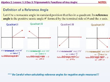 annotated: Algebra 2: CU 10: 5.3 Day 3: Trigonometric Functions of any Angle