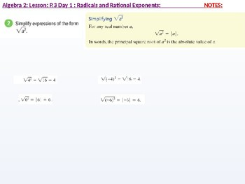 annotated Algebra 2: CU 2: P.3 Day 1: Radicals and rational Exponents