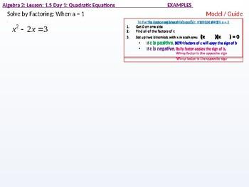 annotated: Algebra 2: CU 3: 1.5 Day 1: Quadratic Equations