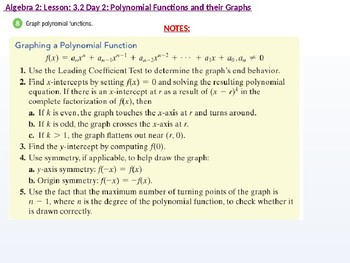 annotated: Algebra 2: CU 4 and 5: 3.2 Day 2: Polynomial Functions and the Graphs