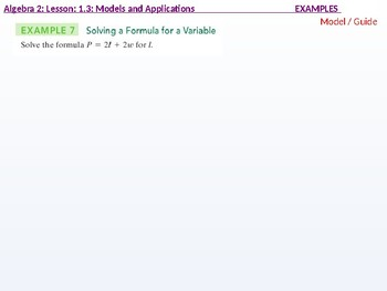 annotated: Algebra 2: CU 6: 1.3: Models and Applications