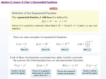 annotated: Algebra 2: CU 7: 4.1 Day 1: Exponential and Logarithmic Functions