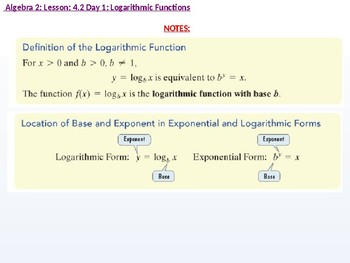 annotated: Algebra 2: CU 7: 4.2 Day 1: Logarithmic Functions