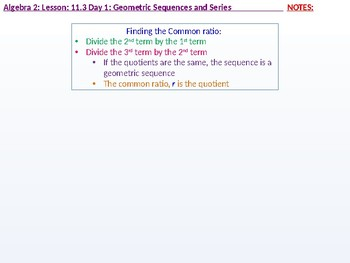 annotated: Algebra 2: CU 8: 11.3 Day 1: Geometric Sequences and Series