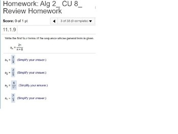 annotated: Algebra 2: CU 8: Review: Series and Sequences