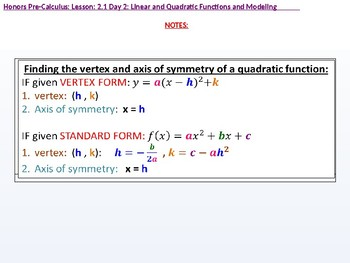 annotated: HPC: CU 2A: 2.1 Day 2: Linear and Quadratic Functions and Modeling