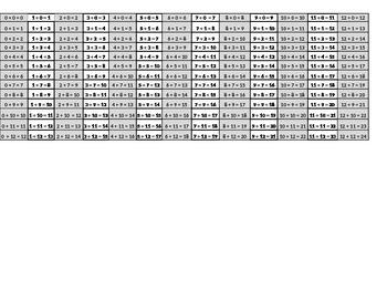 Math--- addition facts  self-correcting answer sheet (small)