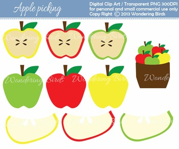 apple picking clip art - 10 different designs