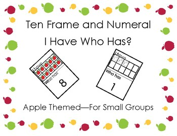 apple themed I have Who Has - Numbers 1-10 in Ten Frame game