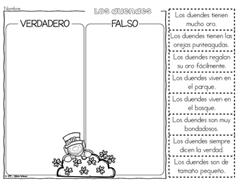 Los duendes - CLOSE READING, Aprendiendo a leer