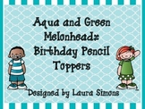 Aqua and Green Melonheadz Birthday Pencil Toppers