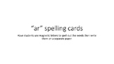 ar Spelling Cards