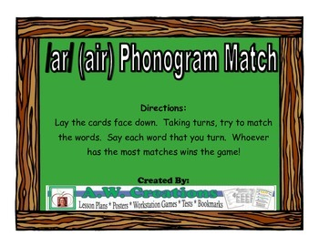 /ar/ (air) Phonogram Match Workstation Game or Small Group Activity