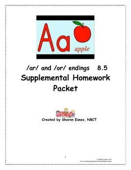 /ar/ and /or/ endings 8.5 Supplemental Homework Packet