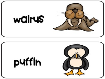 arctic animals habitat word wall and facts