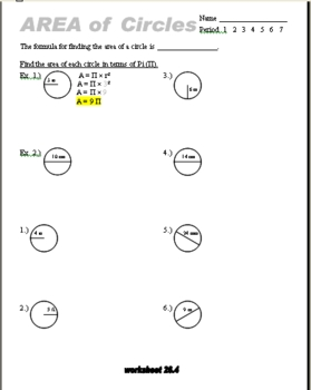 area of circles worksheet