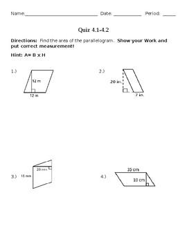 area of parallelograms/triangles quiz