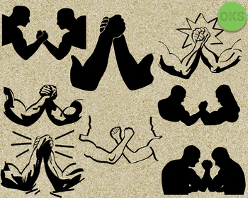 arm wrestling SVG cut files, DXF, vector EPS cutting file instant download