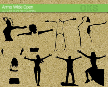 arms wide open SVG cut files, DXF, vector EPS cutting file instant download