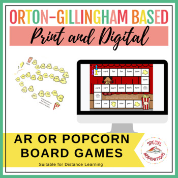 ar/or phonics board game and sorting worksheet (popcorn theme)