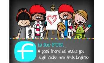 art CHALKBOARD {Melonheadz} - Classroom Decor: LARGE BANNER, FRIEND - BRIGHTS