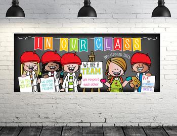 art CHALKBOARD {Melonheadz} - Classroom Decor: LARGE BANNER, In Our Class