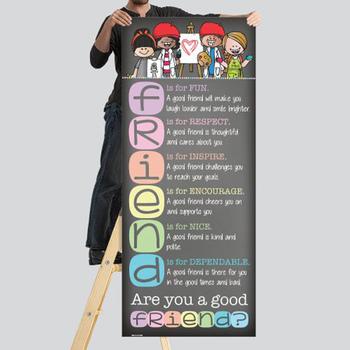 art CHALKBOARD {Melonheadz} - Classroom Decor: LARGE BANNER, FRIEND - PASTEL
