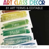 art vocabulary word wall 81 terms hand-painted watercolor classroom decor
