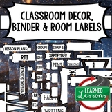 SECONDARY CLASSROOM DECOR, BINDER LABELS, Space Stars