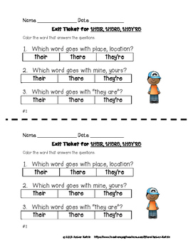 """EXIT TICKETS for """"There, They're, and Their"""""""