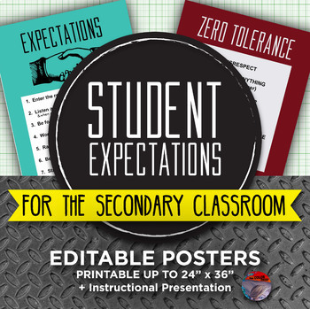 [NEW] STUDENT EXPECTATIONS - Editable Posters and Powerpoint Presentation