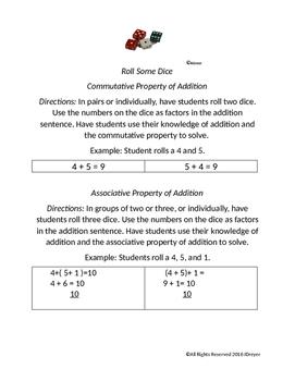 associative/commutative property of addition