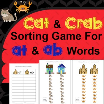 at and ab Word Families Sorting Game