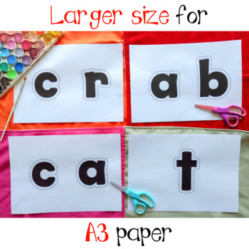 at and ab Word Family Cutting Letters Watercolor Pictures Activity
