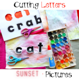 at and ab Word Family Cutting Letters Watercolor Pictures
