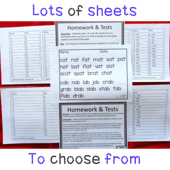 at and ab Word Family Homework and Tests