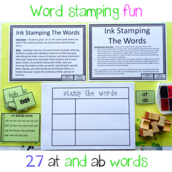 at and ab Word Family Ink Stamping The Words