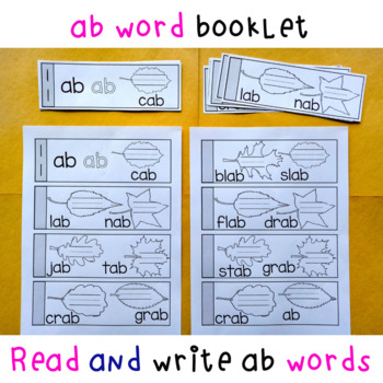 at and ab Word Family Leaf Word Booklet Activity