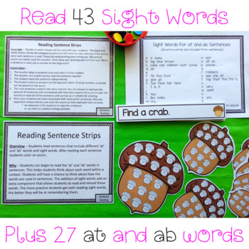 at and ab Word Family Reading Sentence Strips Activity