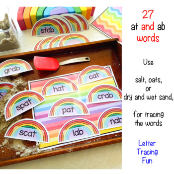at and ab Word Family Salt Tray Finger Writing Activity