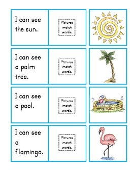 at the beach: matching picture-to-sentence writing prompts