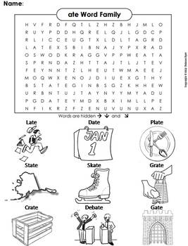 ate Word Family Word Search/ Coloring Sheet (Phonics Worksheet)