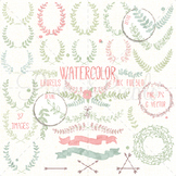 Watercolor Floral Clipart Clip Art, Vintage Rustic Wedding Laurel Wreaths